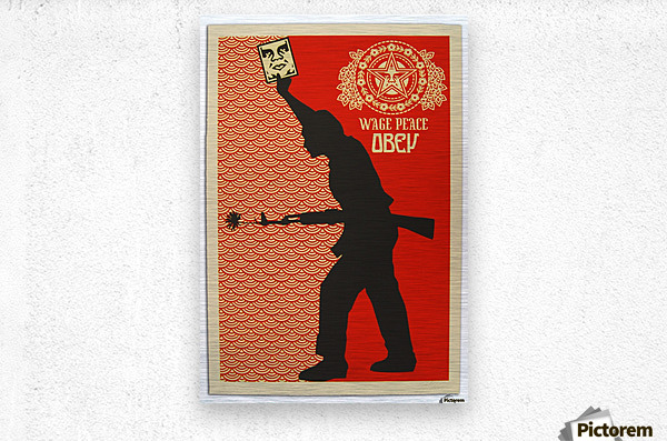 Wage Peace Obey poster  Metal print