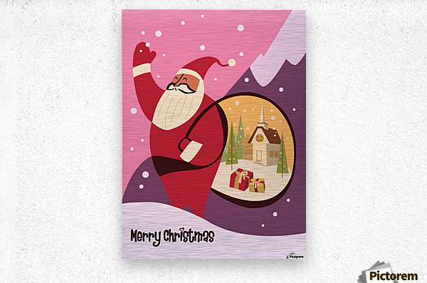 Christmas in Vermont travel poster  Metal print