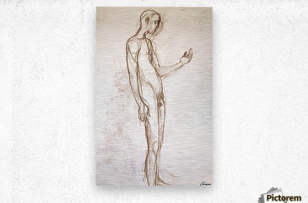 Contemplation Figure Study  Metal print