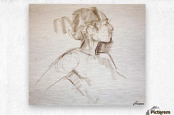 Female Profile Study  Metal print