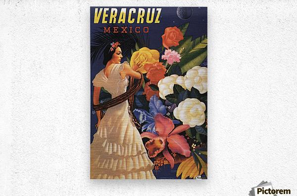 Veracruz Mexico Vintage Tourism Poster, 1940  Metal print