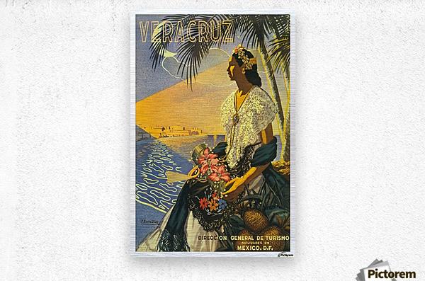 Mexico Veracruz vintage travel poster  Metal print