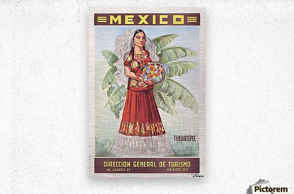 Mexico Tehuantepec vintage poster  Metal print