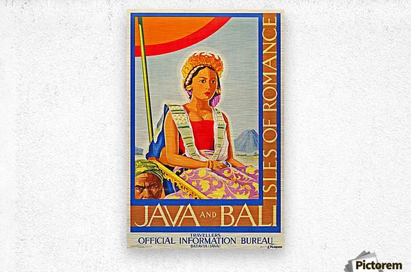 Java and Bali travel poster  Metal print