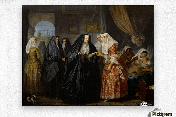 Maltese ladies paying a visit  Metal print