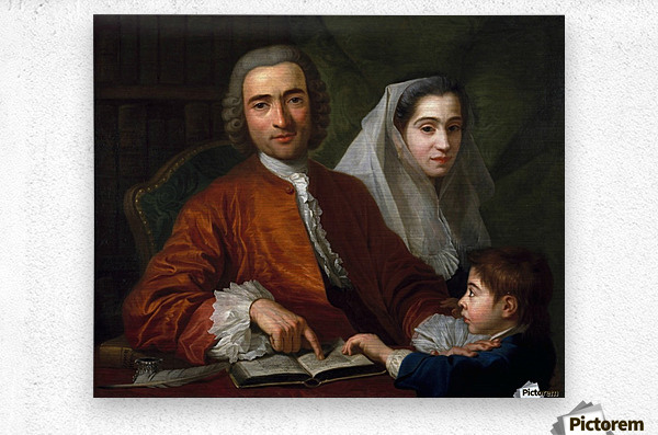 Dr Savatore Bernard with his wife and son  Metal print