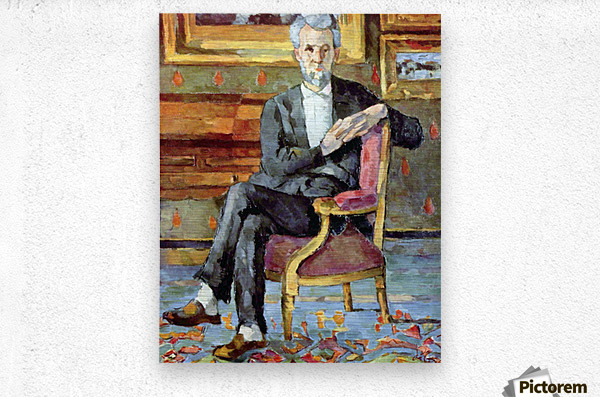 Victor Chocquet seated portrait by Cezanne  Metal print