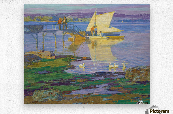 A boat with people by the dock  Metal print