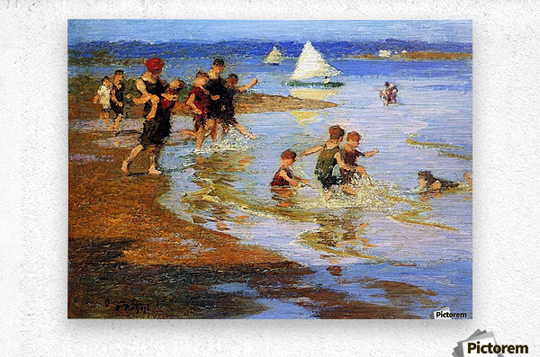 Children at Play on the Beach  Metal print