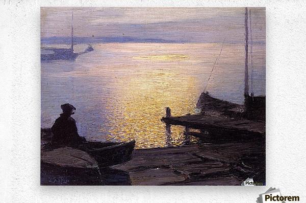 Fisherman in the sunset  Metal print