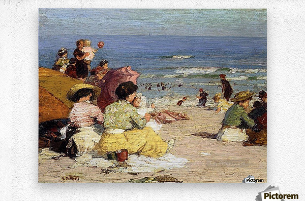 People relaxing by the beach  Metal print