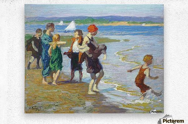 The bathing beach  Metal print