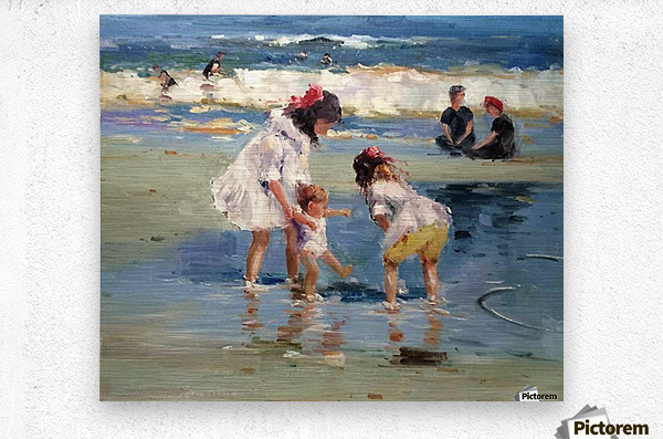 Girls playing in the water  Metal print