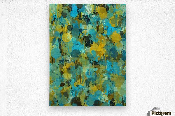 Paint Splattered Graffiti Green Blue Splash  Metal print