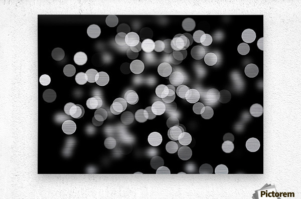 Bokeh Out Of Focus Black White Background Light  Metal print