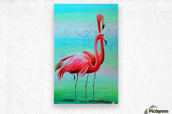 Фламинго на рассвете   Metal print
