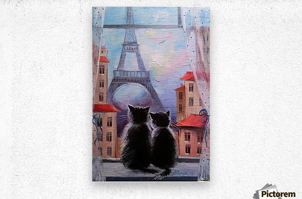 Друзя в Париже  Metal print