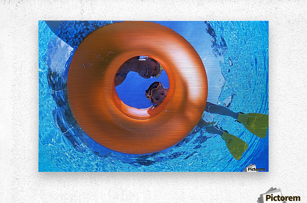 Mother And Daughter Snorkeling  Metal print