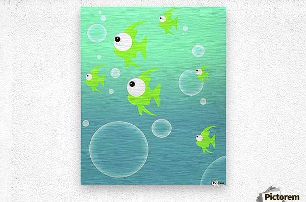 Illustration Of Fish And Bubbles  Metal print