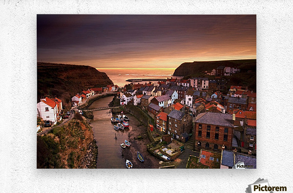 Cityscape At Sunset, Staithes, Yorkshire, England  Metal print