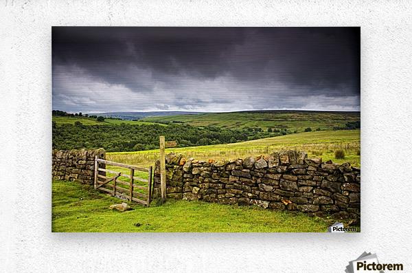 Stone Fence, Yorkshire, England  Metal print