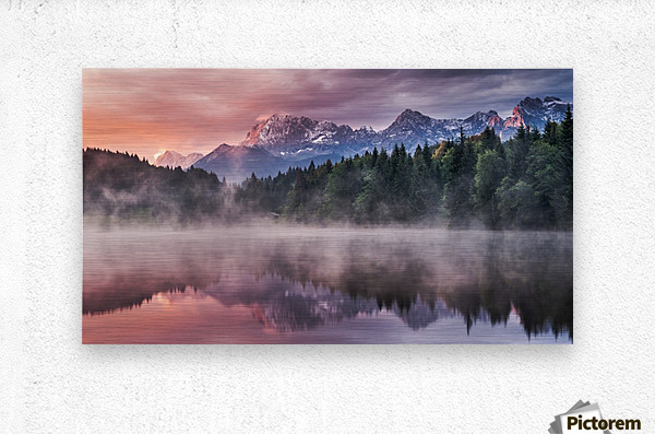 Sunrise at a Lake with Alps in the Background  Metal print