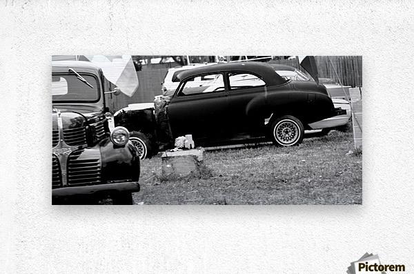Black and White Vintage Cars  Metal print