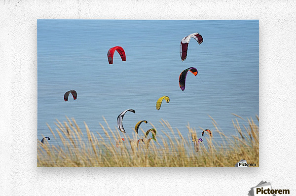 Kites Of Kite Surfers In Front Of Hotel Dos Mares; Tarifa, Cadiz, Andalusia, Spain  Metal print