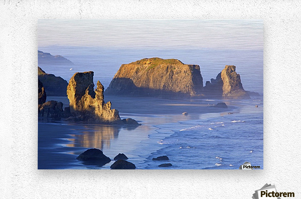 Morning Light Adds Beauty To Fog Covered Rock Formations At Bandon State Park; Bandon, Oregon, United States of America  Metal print