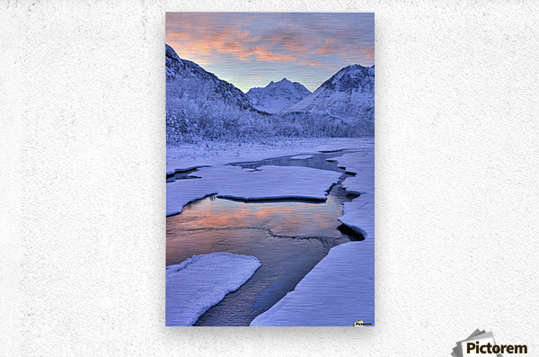 Colorful Sunrise Over A Stream At The Eagle River Nature Center In Chugach State Park, Southcentral Alaska, Winter, Hdr  Metal print