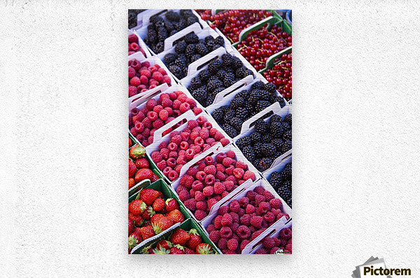 Berries in boxes at a food market;Sault vaucluse provence france  Metal print