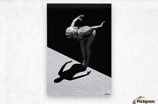 A Woman Prepares To Jump Backwards Off The Edge Of A Pool Into The Water; Tarifa, Cadiz, Andalusia, Spain  Metal print