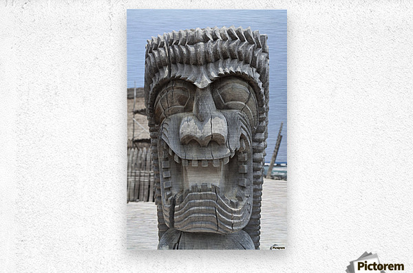Carving of a face in City of Refuge National Historical Park; Big Island, Hawaii, United States of America  Metal print
