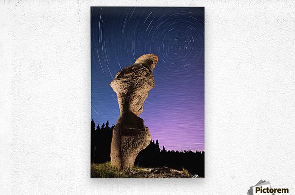Light painting on monolith and star trails, Anse des Bonnes Femmes at Ile Niapiskau, Mingan Archipelago National Park Reserve of Canada, Cote-Nord, Duplessis region; Quebec, Canada  Metal print