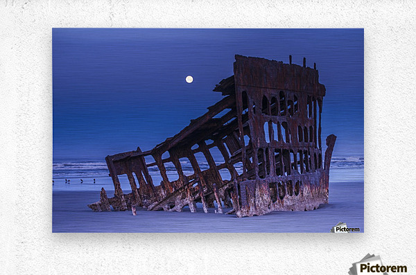 The moon sets over the wreck of the Peter Iredale; Oregon, United States of America  Metal print