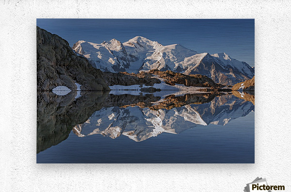 White in Black (Mont Blanc in Lac Noir), French Alps  Metal print