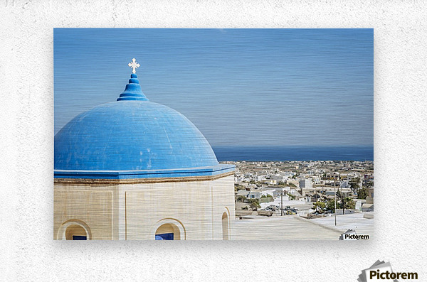 Church with a blue dome roof and view of the Aegean sea; Megalochori, Santorini, Greece  Metal print