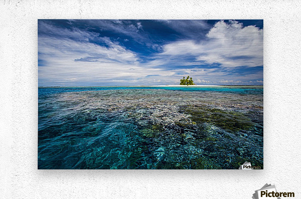 An island that forms part of the marine park, near the Tuvalu mainland; Tuvalu  Impression metal