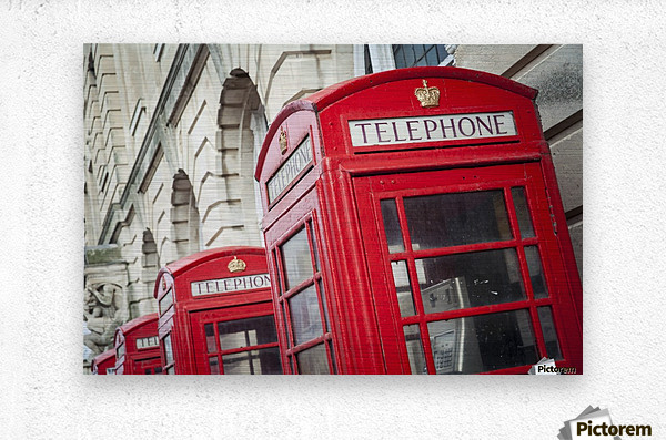 Telephone boxes in a row; Blackpool, Lancashire, England  Metal print