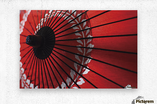 Japanese red umbrella; Kyoto, Japan  Impression metal