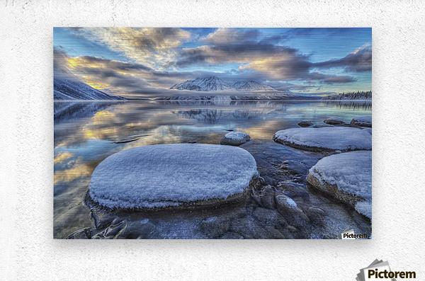 Kathleen Lake and Mount Worthington in Kluane National Park; Yukon, Canada  Metal print