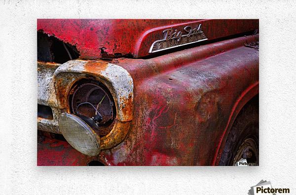 Detail of fire truck that belonged to Kodiak Volunteer Fire Department; Kodiak, Alaska, United States of America  Metal print