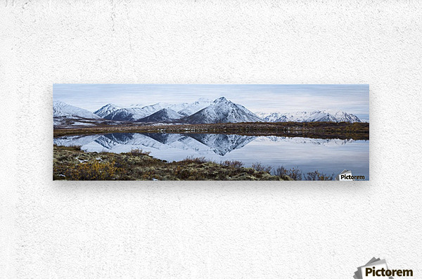 Mount Adney reflected in a pond along the Dempster Highway in the northern Yukon; Yukon, Canada  Metal print