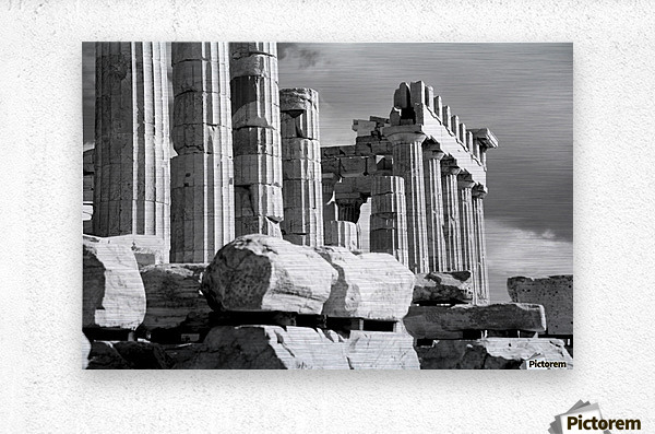 Mono piles of stones before ruined Parthenon; Athens, Attica, Greece  Metal print