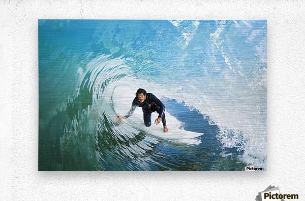 Surfer On Blue Ocean Wave  Metal print