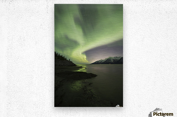 Aurora Borealis dancing above the Chugach Mountains and Turnagain Arm, Kenai Peninsula, Southcentral, Alaska  Impression metal