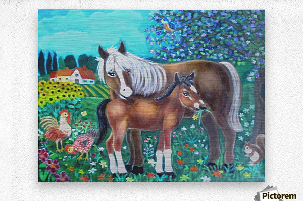 A mare and her foal.  Metal print
