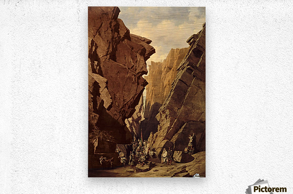 Army passing through the cliffs  Metal print