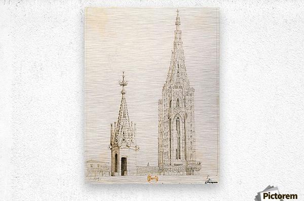 Tour et fleche de la cathedrale de Strasbourg  Metal print