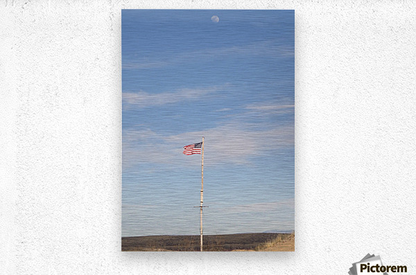 Moon and American Flag over Fort Craig VP1  Metal print